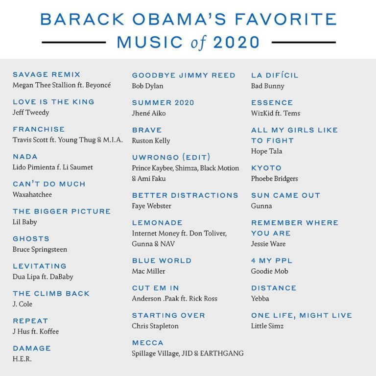 Barack Obama's List of Favourite Music of 2020: Wizkid, Tems & Koffee listed