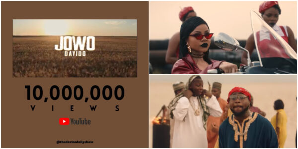 Jowo music video by Davido hits 10 million views on YouTube