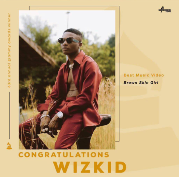 Big Congrats! Wizkid wins Grammy for 'Brown Skin Girl'