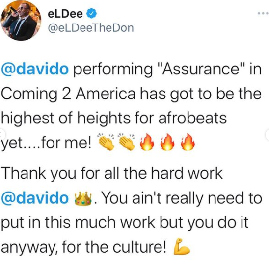"Nigerians On Twitter Reacts To Davido's ""Coming To America 2"" Performance"
